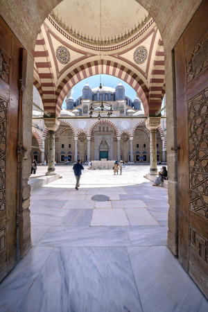 suleyman: EDIRNE, TURKEY - JULY 12, 2016: Yard of Selimiye Mosque built in 1575 by Architect Sinan with the request of Suleyman the Magnificent on July 12, 2016 in Edirne, Turkey. Editorial