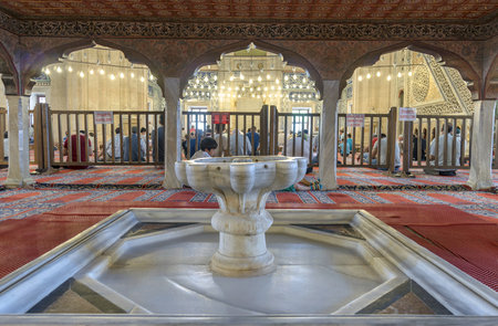 suleyman: EDIRNE, TURKEY - JULY 12, 2016: People in interior of Selimiye Mosque on July 12, 2016 in Edirne, Turkey. Selimiye Mosque built in 1575 by Architect Sinan with the request of Suleyman the Magnificent. Editorial