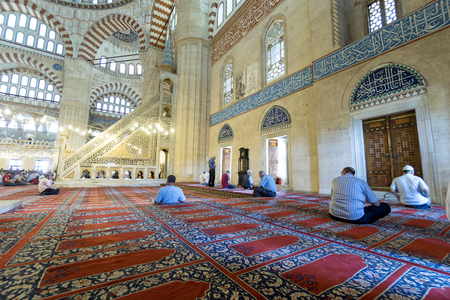 selimiye mosque: EDIRNE, TURKEY - JULY 12, 2016: People in interior of Selimiye Mosque on July 12, 2016 in Edirne, Turkey. Selimiye Mosque built in 1575 by Architect Sinan with the request of Suleyman the Magnificent. Editorial