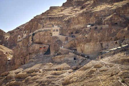 monasticism: Church was built in the mountains thousands of years ago in Jericho, israel Stock Photo
