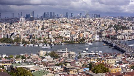 ISTANBUL, TURKEY - SEPTEMBER 27, 2016: Panorama of Istanbul aerial view on September 27, 2016 in Istanbul, Turkey.