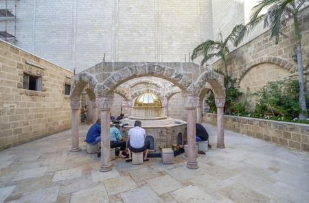 jaffa: JAFFA, ISRAEL - JUNE 1, 2016: Ablution fountain of Mahmadiyya Mosque in Jaffa, Israel. The mosque was built by Sultan II Mahmud in 1812.