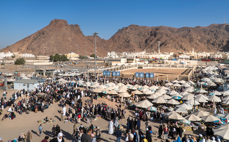 MEDINA, SAUDI ARABIA - FEB 02: Muslims who came to visit the martyrs of Uhud on February 02, 2017 in Medina, KSA. General view of the battle of Uhud top archers Editorial
