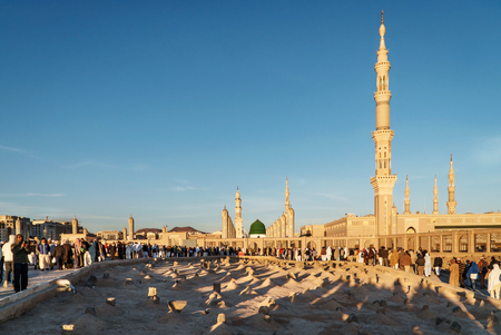 KSA: MEDINA, SAUDI ARABIA (KSA) - FEB 3: View of Baqee Muslim cemetary at Masjid (mosque) on February 3, 2017 in Medina, Saudi Arabia. The cemetery of Medina draws attention with its simple structure. Editorial