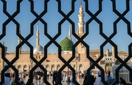 MEDINA, KINGDOM OF SAUDI ARABIA (KSA) - FEB 2: Iron railings behind the mosque of the Prophet Muhammad on February 2, 2017 in Medina, KSA. Prophets tomb is under the green dome. Editorial