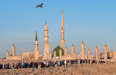 MEDINA, SAUDI ARABIA (KSA) - FEB 3: View of Baqee Muslim cemetary at Masjid (mosque) Nabawi in Al Madinah, Kingdom of Saudi Arabia. Editorial