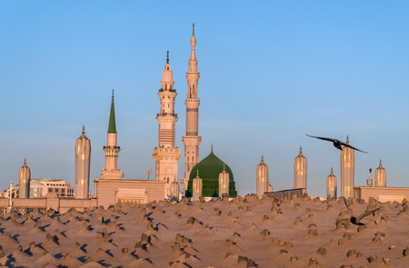 View of Baqee Muslim cemetary at Masjid (mosque) Nabawi in Al Madinah, Kingdom of Saudi Arabia. Stock Photo