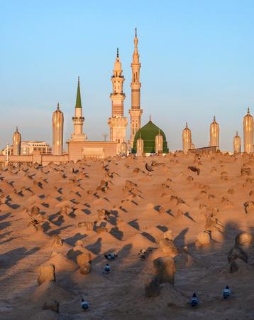 View of Baqee Muslim cemetary at Masjid (mosque) Nabawi in Al Madinah, Kingdom of Saudi Arabia. Stock Photo