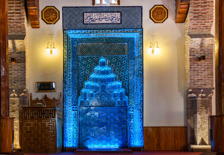 Blue Altar (mihrab) Sahib-i Ata Mosque in Konya, Turkey.