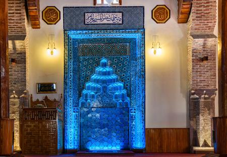 Blue Altar (mihrab) Sahib-i Ata Mosque in Konya, Turkey.