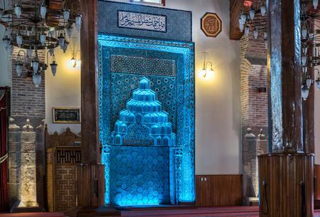 konya: Blue Altar (mihrab) Sahib-i Ata Mosque in Konya, Turkey.