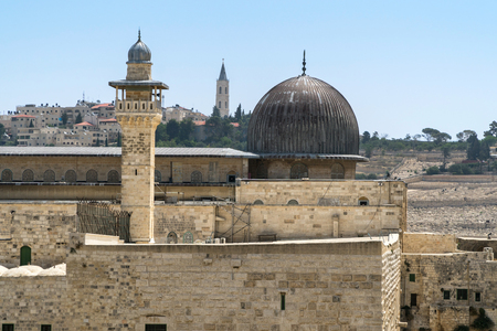 Temple Mount in Jerusalem, with Al-Aqsa Mosque and Old City wall in Jerusalem.