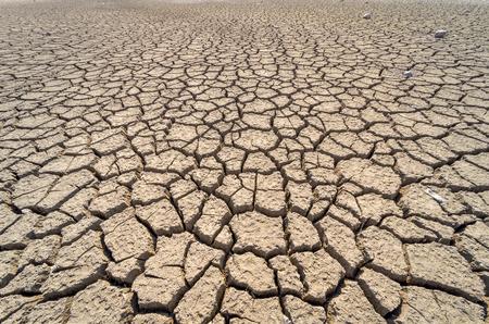 Sucha popękana pustynia. Tło. Globalny niedobór wody na planecie.