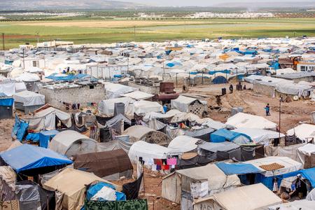 AZEZ, SYRI - 19 MEI: Vluchtelingenkamp voor Syriërs op 19 mei 2019 in Azez, Syrië. Redactioneel