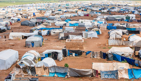 AZEZ, SYRIA – MAY 19: Refugee camp for syrian people on May 19, 2019 in Azez, Syria.