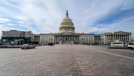 WASHINGTON D.C., USA - JANUARY 30, 2020: United States Capitol Building in Washington DC. US government monument in capital. National politics power, legislation concept.