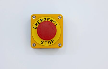 Extreme close-up image of a emergency stop studio isolated on white background