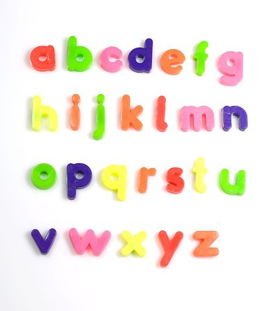 fridge: colourful fridge magnet alphabet letters Stock Photo