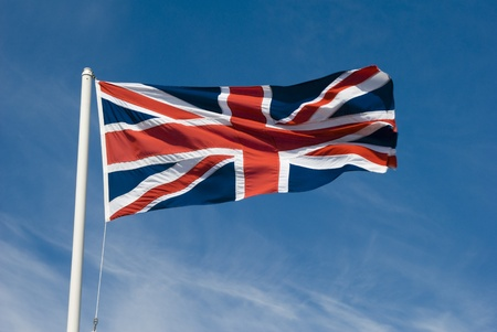 british weather: Union jack flying in the sky