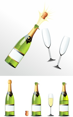 Champagne Bottle cork and glasses Vector
