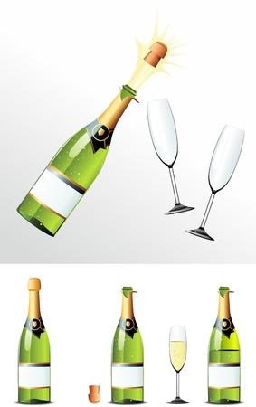 botella champagne: Champagne corcho de botella y los vasos