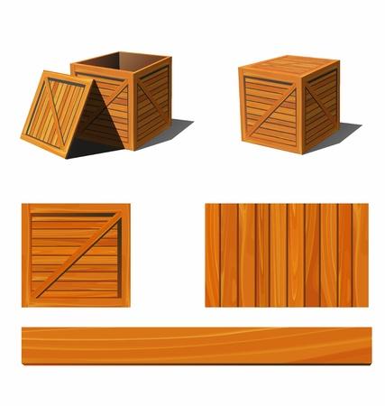 estuche: caja de madera Vectores