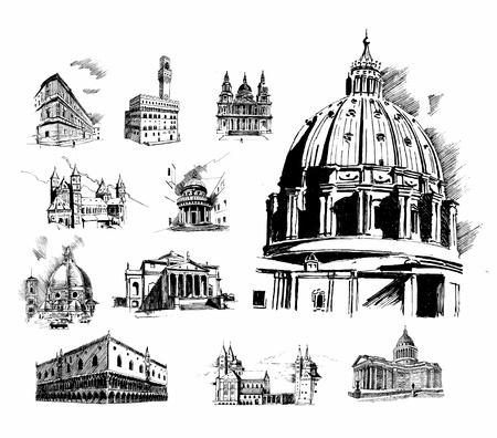florence italy: Caratteristiche architettoniche  Vettoriali