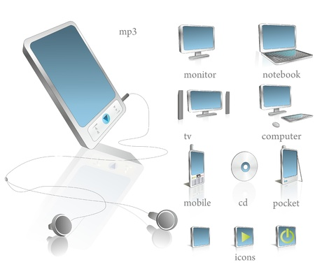 mp3 player: high - tech set