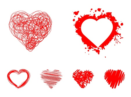 hand-drawn set of red hearts
