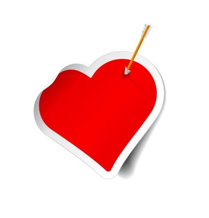 straight pin: arrow hitting sticker heart Illustration