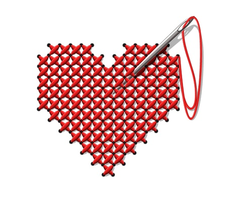 embroider: Hand-made heart Illustration