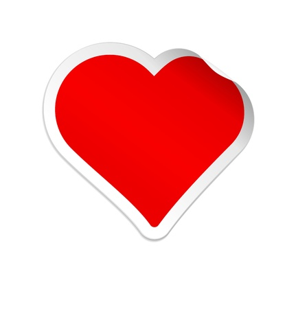 Heart shaped red sticker isolated on white background