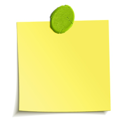 adhesive note: Sheet of paper attached by sticky plasticine like a reminder note. Isolated vector design element
