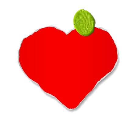 Handmade red heart attached by plasticine Vector
