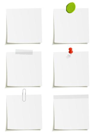 Set of notes: clip, tape, plasticine, sticker, pin attachment