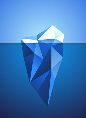 gla�on: Image stylis�e du diamant en forme congel�e iceberg Illustration