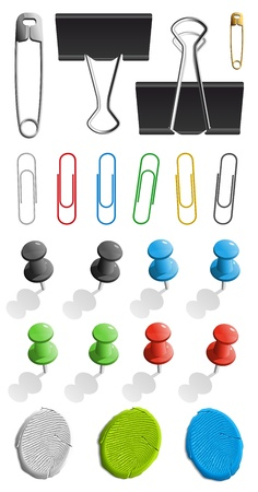Elements for attaching paper: pin, plasticine and paperclip set Illustration