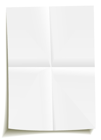 White bent empty paper, folded two times. Vector blank design element