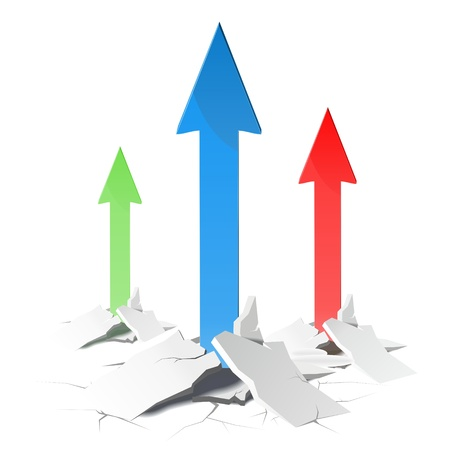 growth arrows in success concept