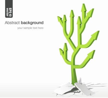 fleche verte: la croissance des arbres succ�s concept de fl�ches dans le r�seau Illustration
