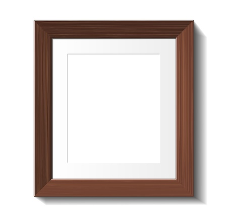 Empty frame of wenge wood isolated on white Vector