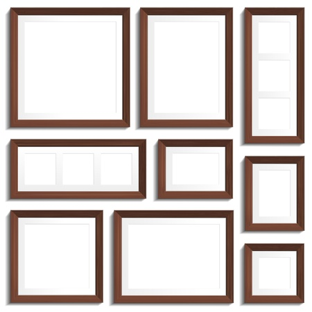 empty frames of wenge wood in various standard formats Vector