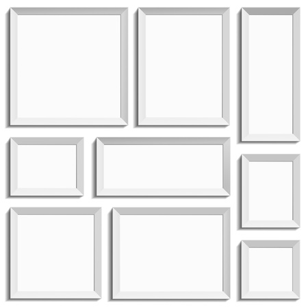 White isolated empty frames in international paper size
