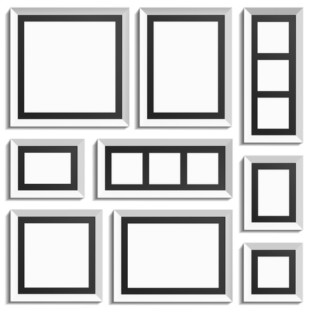 White frames with black paper inside. Stylish element for any picture. Illustration