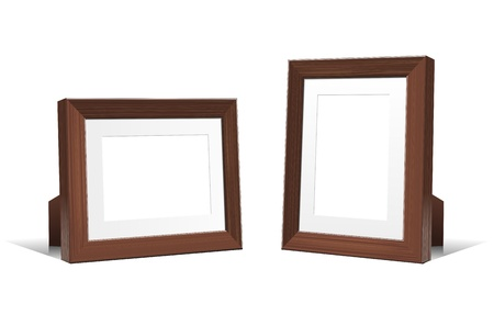 Realistic 3D empty frames of wenge wood. Vector