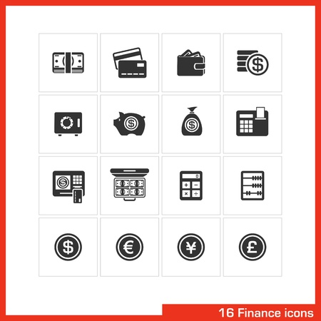 cash register: Finance icon set  Illustration