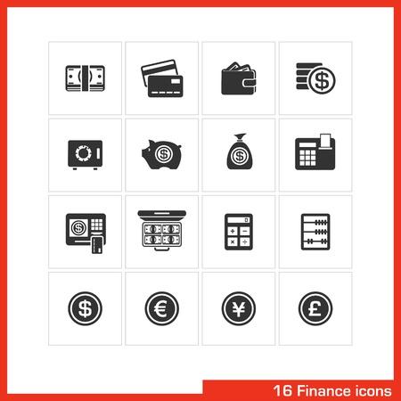 caja registradora: Finanzas icono conjunto