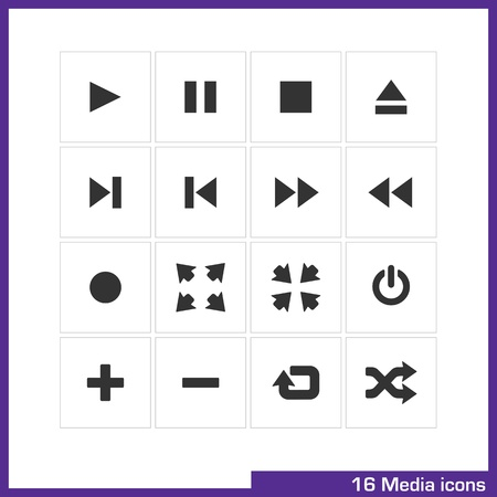 video player: Media  icon set  Illustration