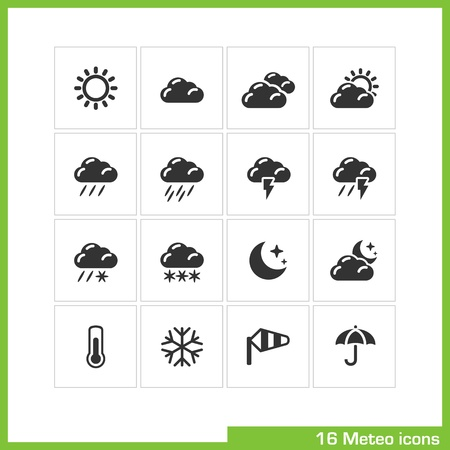 meteorology: Meteo icon set.