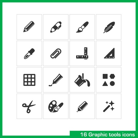 paper clip: Graphic tools icon set.  Illustration